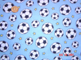 Soccer on Blue Fabric